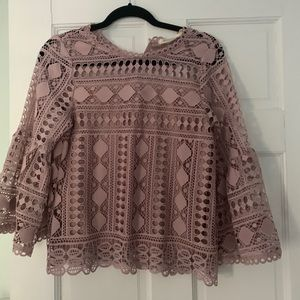 Light pink crotchet blouse